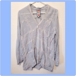 Johnny Was Periwinkle Blue LS Eyelet Tunic Small